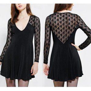 Kimchi Blue Black Lace Long Sleeve Skater Dress